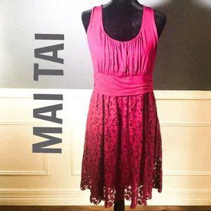 Mai Tai-Burgundy sleeveless Lace Flare Skirt Dress